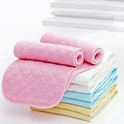 10Pcs Reusable Baby Cotton Cloth Diaper Washable 3-Layers Na