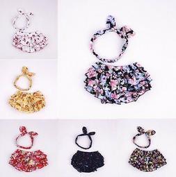 2PCS Newborn Baby Girls Ear Headband+Ruffle Shorts Pants Blo