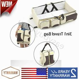 3 in 1 Baby Diaper Bag Movable Bassinet Nappy Changing Bed f
