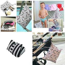 3Pcs Baby Cloth Diaper Wet Dry Bags Waterproof Reusable W Tw
