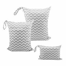 ALVABABY 3pcs Baby Cloth Diaper Wet/Dry Bags Waterproof Reus
