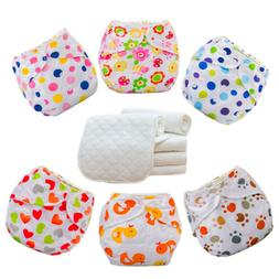 5 Diapers+5 INSERTS Cloth Diaper Nappies Adjustable Reusable