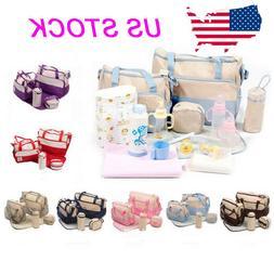 5 Pcs Baby Changing Diaper Nappy Bag Mummy Mother Handbag Mu
