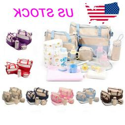 5 Pcs Baby Changing Diaper Nappy Bag Mummy Mother Handbag Mu