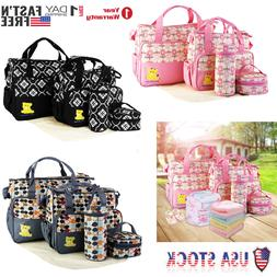 5 Pcs Set Baby Nappy Bag Mummy Mother Handbag Bottle Diaper