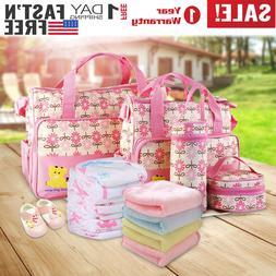 5Pcs Baby Changing Diaper Nappy Bag Mommy Handbag Bottle Mat