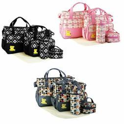 5Pcs Baby Changing Diaper Nappy Bag Set Mommy Handbag Bottle