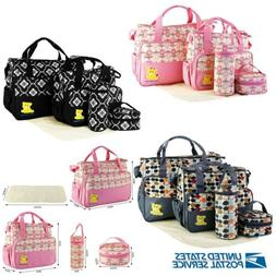 5Pcs Baby Nappy Diaper Changing Bag Set Mat Mummy Bag Bottle
