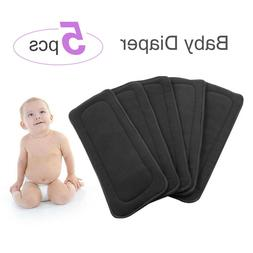 5pcs Bamboo Charcoal Insert Baby Diaper Washable Reusable Ch
