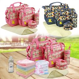 5pcs Multi-functional Mommy Mother Handbag Baby Changing Dia