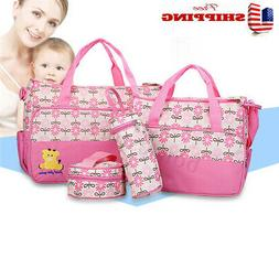 5PCS Multifunctional Baby Changing Diaper Nappy Bag Mummy La