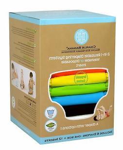 Charlie Banana 6 Diapers Plus 12 Inserts, Organic Tango Mang