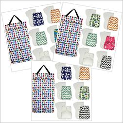 6-Pack One Size Baby Pocket Cloth Diapers with Large Wet Bag