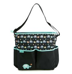 6-Pocket Novelty Baby Boom Elephant Print Diaper Bag with Di