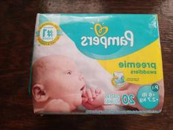 !6PACK LOT!Pampers Preemie Swaddlers P-1 up to 6lb/2.7kg 20