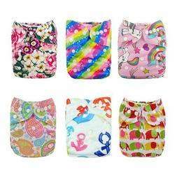 ALVABABY Reuseable Washable Pocket 6 Cloth Diapers + 12 Inse