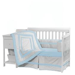 Baby Doll Bedding Modern Hotel Style Crib Bedding Set, Blue