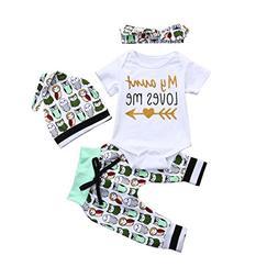 FEITONG 4Pcs Infant Baby Boys Girls Cartoon owl Print Romper