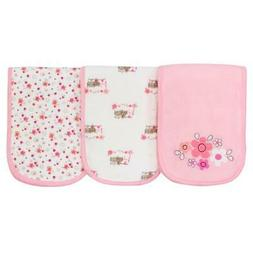 Gerber Baby Girls 3 Pack Terry Burp Cloth, Lil' Flowers, One