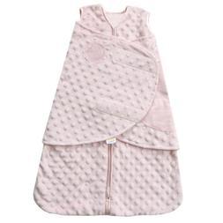 HALO SleepSack Plush Dot Velboa Swaddle, Pink, Newborn