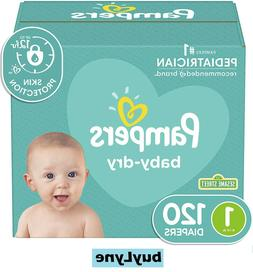 Pampers Baby Dry Diapers, Newborn / Size 1, 120 Count, Super
