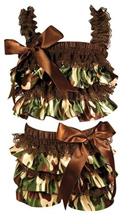 Stephan Baby Ruffled Flapper Top and Diaper Cover, Camo Prin