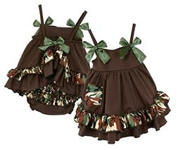 Stephan Baby Ruffled Swing Top and Diaper Cover, Camo Print,