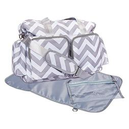 Trend Lab Chevron Deluxe Duffle Diaper Bag, Gray/White