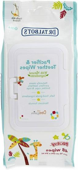 Nuby All Natural Pacifier and Teether Wipes, Vanilla Milk, 4