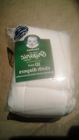 Gerber Baby 10 Pack Organic Cotton Prefold Cloth Diapers Abs