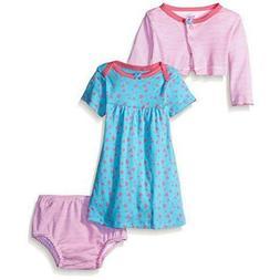 Gerber Baby 3 Piece Newborn Set. Cardigan, Dress and Diaper