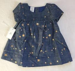 Baby Gap Baby Girl Chambray Dress With Stars & Diaper Cover