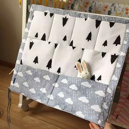 Baby Bed Hanging Storage Bag 100%Cotton Toy Diaper Pocket fo