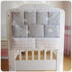 Baby Bed Hanging Storage Bag Cotton Toy Diaper Pocket for  C