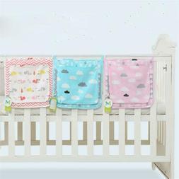 Baby Bed Hanging Storage Bag Cotton Toy Diaper Pocket Crib B