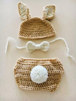Baby Boys Bunny Hat, Bow tie, And Diaper Cover. Fits 6-12mon