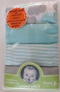 Gerber Baby Boys Cotton Diaper Burp Cloths 4 Pack Blue/Gray/