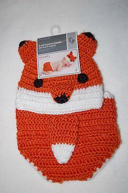 Baby Boys ORANGE FOX HAT & DIAPER COVER Hand Crocheted PHOTO