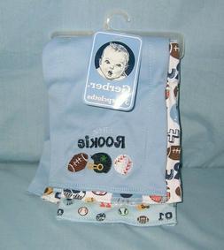 Gerber Baby ~ Cotton Diaper Style BURP CLOTHS 3Pk  ~ SPORTS