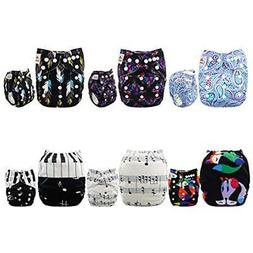ALVABABY Covers Baby Cloth Diapers 6 Pack 12 Inserts Printed