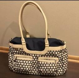 JJ Cole Baby Diaper Bag Travel Satchel Cream Color Leather H