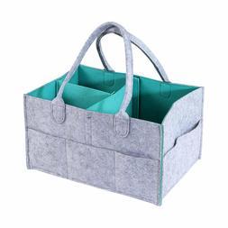Baby Diaper Caddy Medium Organizer Gray and Blue Nursery Bin