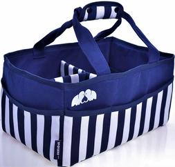 Baby Diaper Caddy Organizer Blue and White Stripes Extra Lar