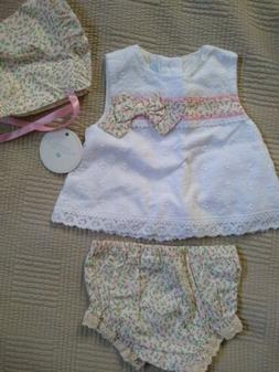 Edgehill collection baby dress with diaper cover and bonnet.