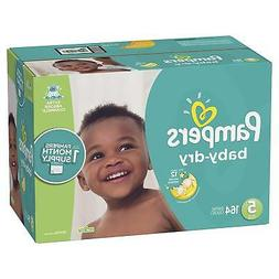 Pampers Baby Dry Disposable Diapers, Size 5,164 Count, ONE M