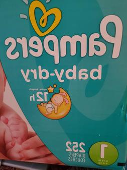 👶Pampers Baby Dry One-Month Supply Diapers, Size 1 - 252