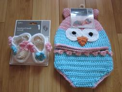 Baby girl 0-9 OWL  hand crocheted picture outfit set hat dia