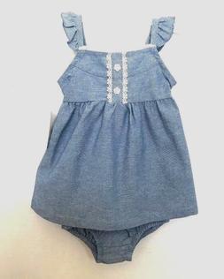 Healthtex Baby Girl Dress w/Diaper Cover 2-Pc Set Chambray N