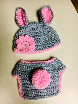 Baby Girls Easter Bunny Crochet Hat And Diaper Cover 3-6 Mon