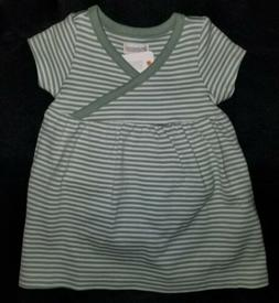 Gymboree baby Girls Green Stripe Cotton Stretch Dress+Diaper